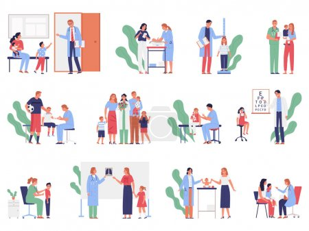 Illustration pour Flat icons set with happy characters of pediatrician parents children at clinic isolated vector illustration - image libre de droit
