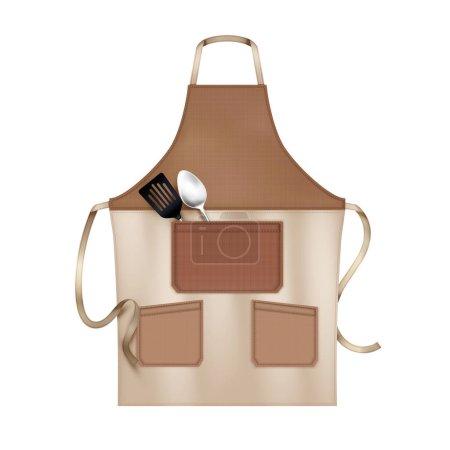 Illustration pour Linen kitchen cooking chef apron brown beige with 3 pockets accessorized with lapels realistic closeup vector illustration - image libre de droit