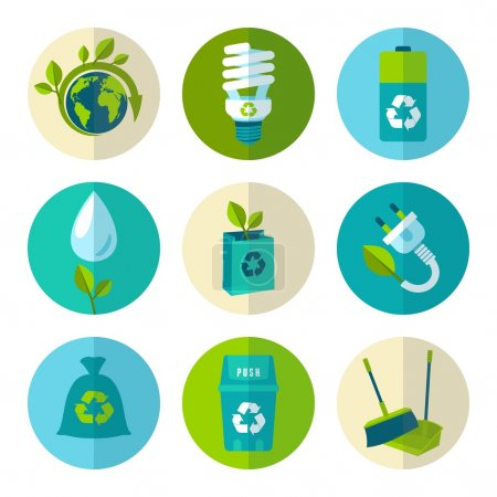 Illustration for Ecology and waste flat icons set of trash recycling conservation isolated vector illustration. - Royalty Free Image