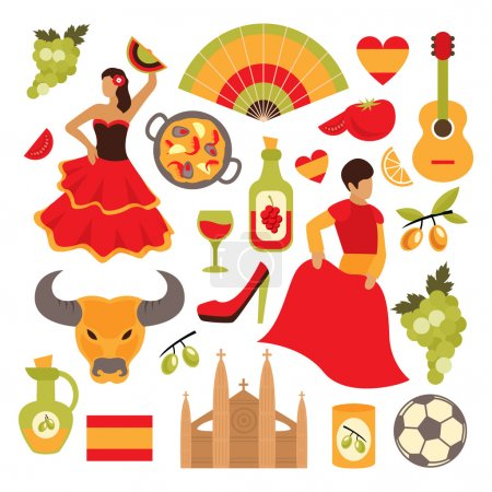 Illustration for Spain travel tourist attractions icons set isolated vector illustration - Royalty Free Image