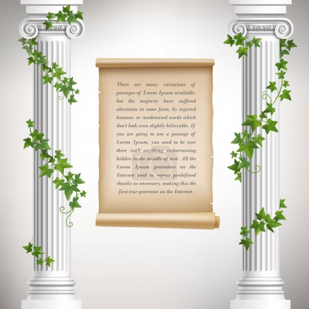 Antique greek columns with vine and vintage scroll...