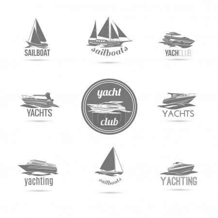 Illustration for Ocean marine yacht club sail and speed motor boats black silhouettes graphic sketch emblems isolated vector illustration - Royalty Free Image