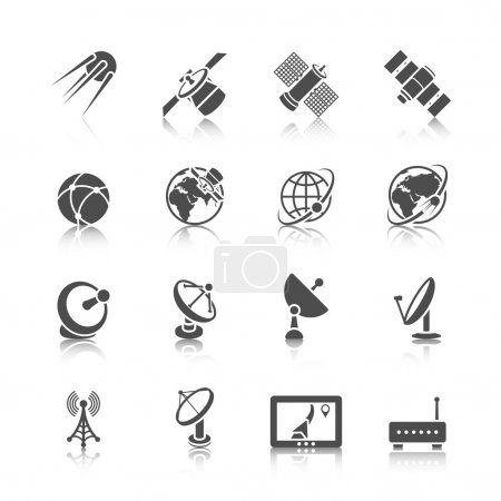 Earth orbit space station and satellite dish digit...