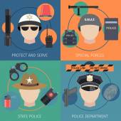 Police protect and serve special forces flat set isolated vector illustration