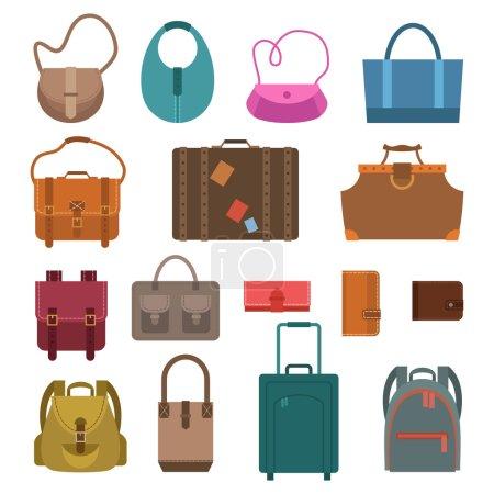 Illustration pour Femmes mode et sacs à bagages icônes de couleur ensemble isolé vectoriel illustration. - image libre de droit
