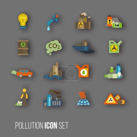 Pollution icon set