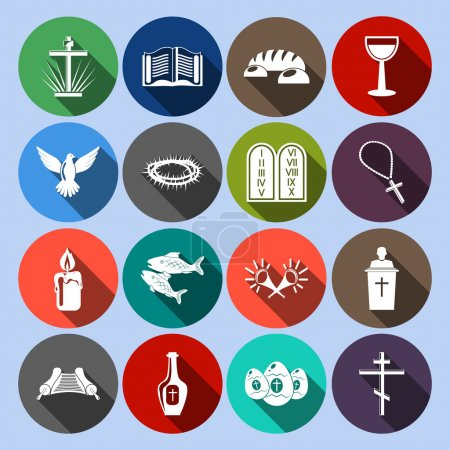 Photo for Christianity traditional religious symbols flat icons set with cross bible goblet isolated vector illustration - Royalty Free Image