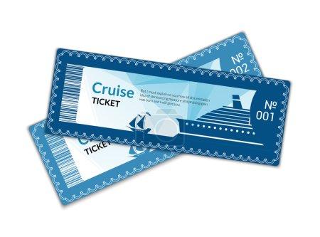 Illustration for Ship cruise tickets set isolated on white background vector illustration - Royalty Free Image