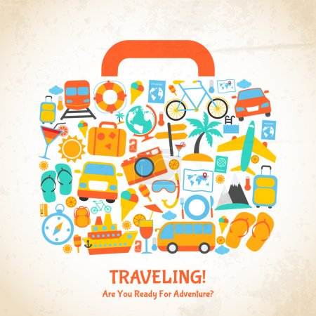 Illustration for Travel holiday vacation suitcase ready for adventure concept vector illustration - Royalty Free Image