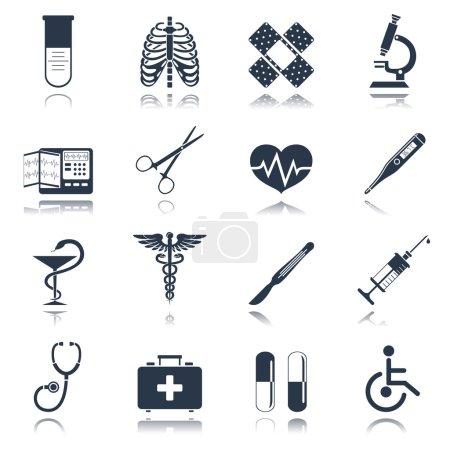 Illustration pour Icônes noires de premiers soins d'urgence médicale réglées avec thermomètre pilule cardiaque illustration vectorielle isolée - image libre de droit