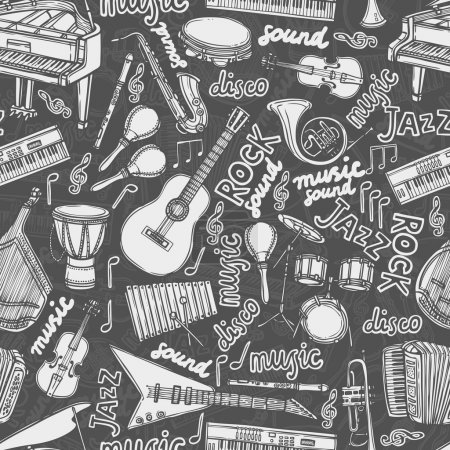Musical instruments sketch seamless pattern