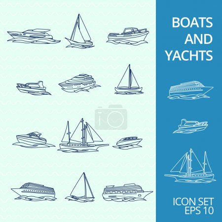 Illustration for Ocean recreation cruise motor boats and sportive competitive sailing yachts outline sketch icons set isolated vector illustration - Royalty Free Image