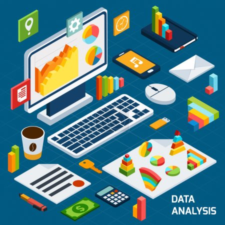 Illustration for Isometric data analysis business icons set with laptop and office stationery vector illustration - Royalty Free Image