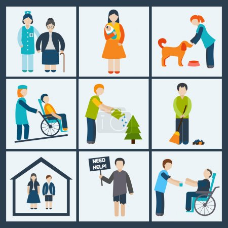 Illustration for Social services and volunteer icons set isolated vector illustration - Royalty Free Image