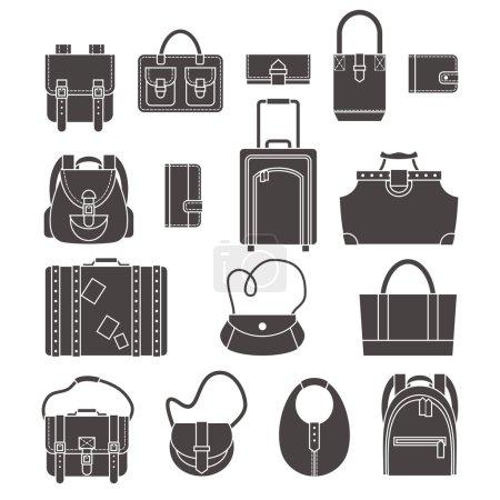 Illustration pour Femme mode et sacs à bagages noir silhouette icônes ensemble isolé vectoriel illustration - image libre de droit