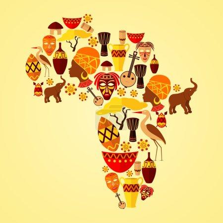 Illustration pour Afrique continent jungle ethnie tribu voyage concept vectoriel illustration - image libre de droit