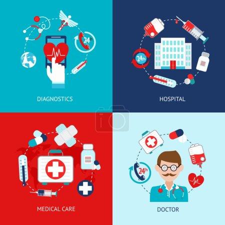 Illustration pour Icônes médicales d'urgence soins de santé ensemble plat illustration vectorielle isolée - image libre de droit