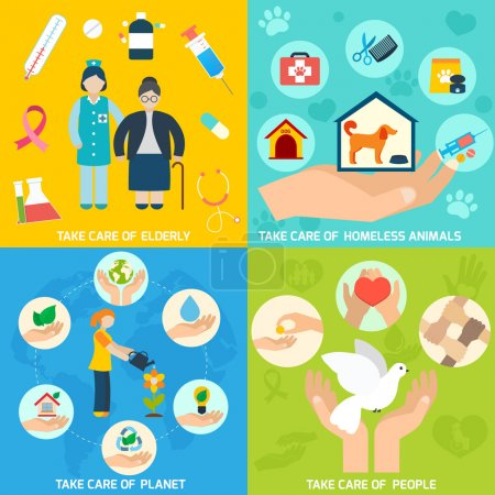 Illustration for Charity social help services and volunteer work icons set flat isolated vector illustration - Royalty Free Image