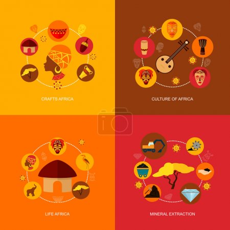 Africa icons flat composition