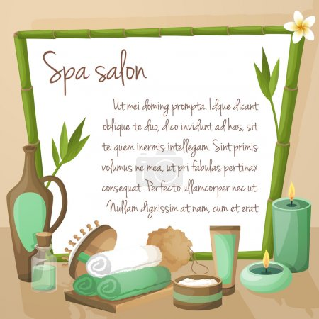 Illustration for Spa salon background with bamboo frame and therapy products vector illustration - Royalty Free Image
