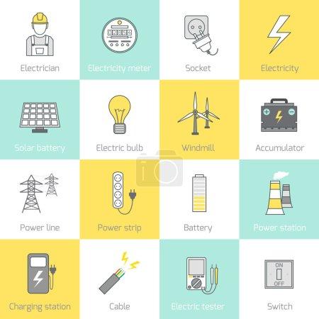 Illustration pour Icônes de ligne plate d'électricité réglées avec illustration vectorielle de moulin à vent de batterie solaire de prise - image libre de droit