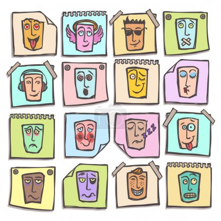 Illustration for Sketch emoticons man head face expressions colored paper stickers set isolated vector illustration - Royalty Free Image
