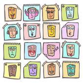 Skica sada samolepek emotikony