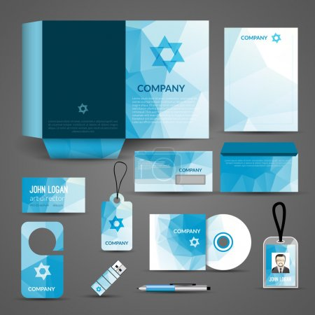Illustration for Blue paper business stationery layout template for corporate identity and branding set isolated vector illustration - Royalty Free Image