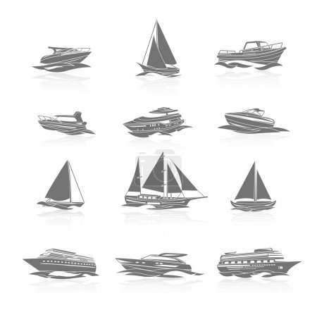 Illustration for Ocean cruise liner ship and sailboat yachts boats silhouettes black pictograms collection abstract graphic isolated vector illustration - Royalty Free Image