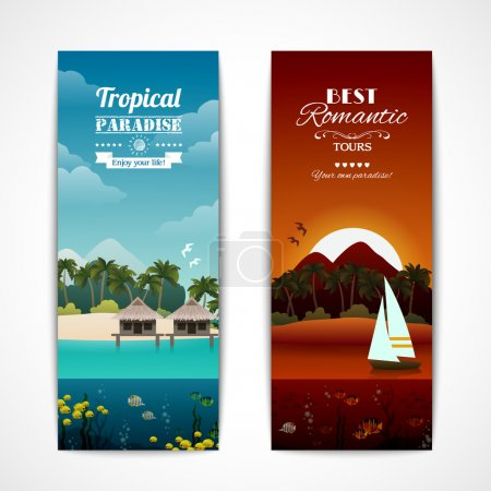 Tropical island vertical banners