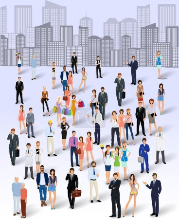 Illustration pour Grand groupe de personnes sur l'illustration vectorielle d'affiche de fond skyline de la ville - image libre de droit