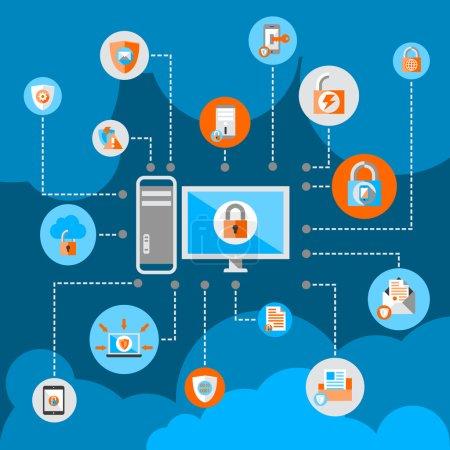 Illustration pour Technologie de protection des documents commerciaux et des fichiers de date et concept de sécurité de réseau en ligne illustration vectorielle plate - image libre de droit