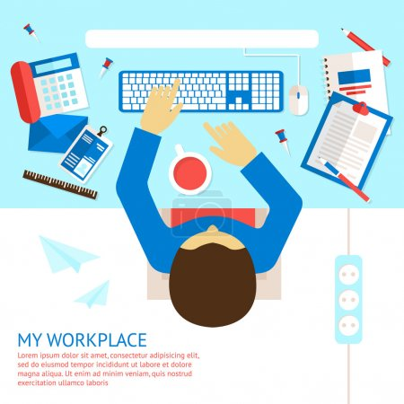 Illustration for Top view on classic office workplace desk with man employee vector illustration - Royalty Free Image