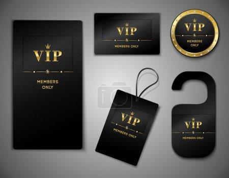 Illustration for Vip members only premium platinum elegant cards black design template set isolated vector illustration - Royalty Free Image