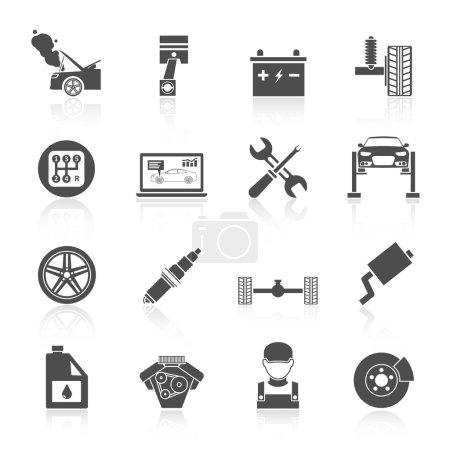Ilustración de Conjunto de iconos negros auto auto servicio de batería llantas ruedas motor freno reparación aislado vector ilustración. - Imagen libre de derechos