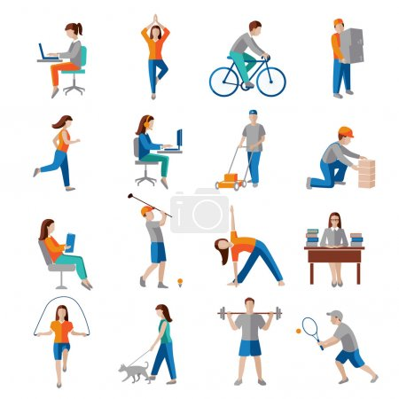 Illustration for Physical activity healthy lifestyle icons set isolated vector illustration. - Royalty Free Image