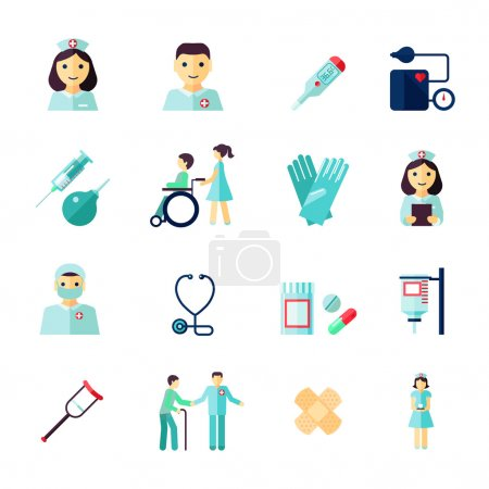 Illustration for Nurse health care medical icons flat set isolated vector illustration - Royalty Free Image
