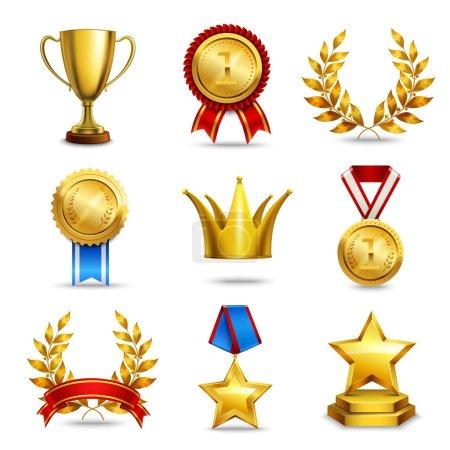 Illustration pour Prix icônes ensemble de trophée médaillé prix champion coupe isolé vecteur illustration - image libre de droit