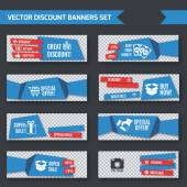 Discount promotion advertising blue origami paper banners set isolated vector illustration