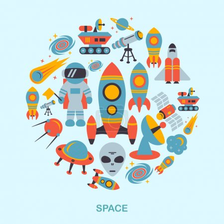 Illustration for Space and astronomy icons flat set of rocket satellite earth alien vector illustration - Royalty Free Image