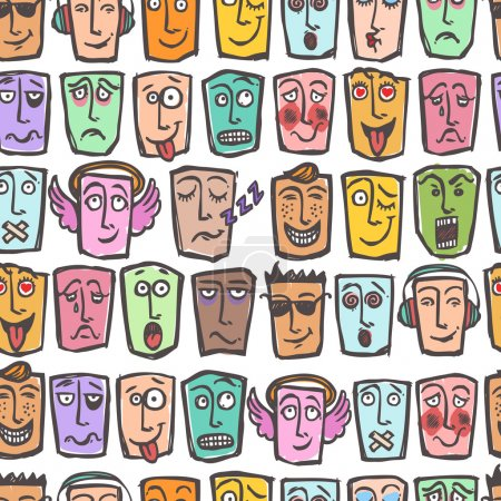 Illustration for Sketch emoticons man emotions colored seamless pattern vector illustration - Royalty Free Image