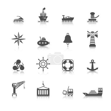 Sea port icons set