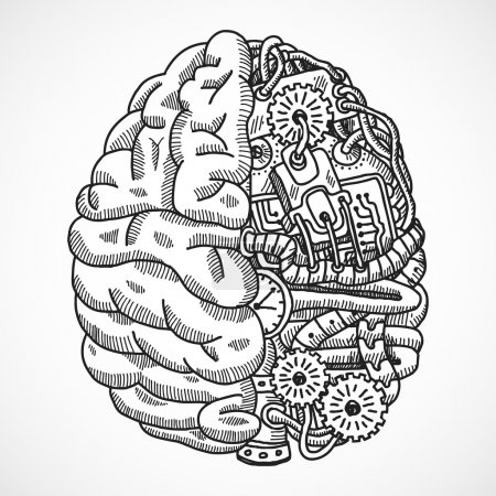 Illustration for Human brain as engineering processing machine sketch concept vector illustration - Royalty Free Image