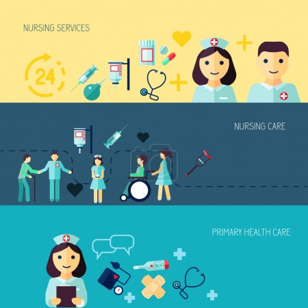 Illustration for Nurse service primary health care banner set isolated vector illustration - Royalty Free Image