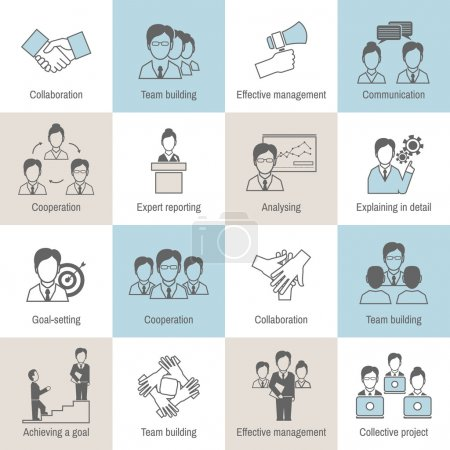 Teamwork icons line flat
