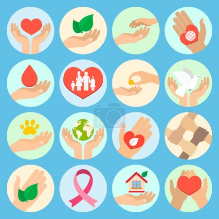 Illustration for Charity donation social services and volunteer icons set with hands isolated vector illustration - Royalty Free Image