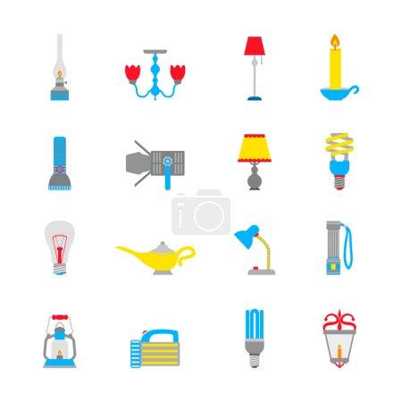 Illustration for Flashlight and lamps illumination equipment icons flat set isolated vector illustration - Royalty Free Image