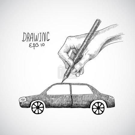 Illustration pour Voiture de dessin à la main avec dessin au crayon graphite isolé sur fond blanc illustration vectorielle - image libre de droit