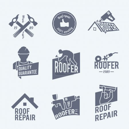 Roofer label set grey