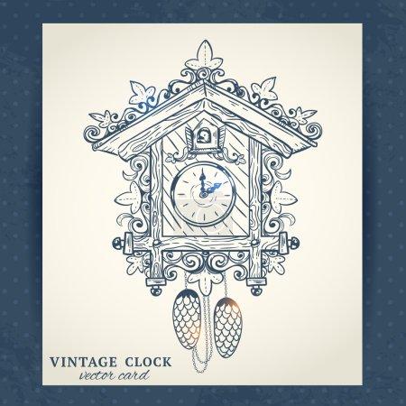 Old retro cuckoo clock postcard
